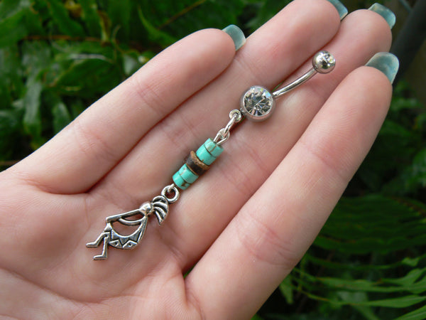 tribal kokopelli kachina belly ring kokopelli kachina charm in tribal boho gypsy hippie belly dancer beach and hipster style
