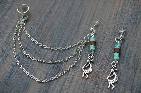 tribal kokopelli kachina ear cuff set kokopelli kachina  silver toned cuff in tribal gypsy hippie hipster and native american inspired style