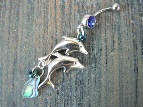 dolphin and abalone belly ring
