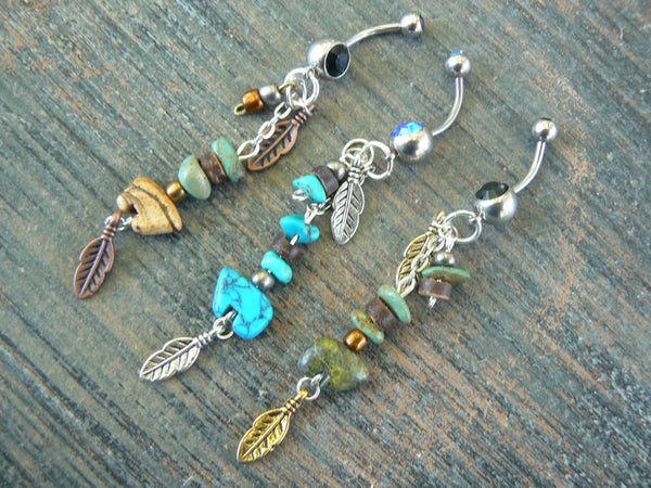 bear belly ring,  choose the bear ,gemstone tribal belly ring
