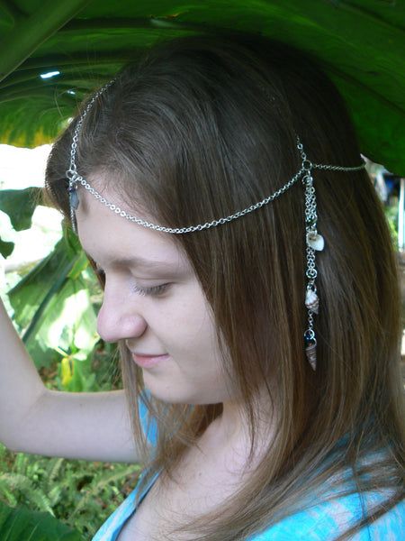 beach sea turtle head chain abalone and seashells  mermaid  head piece turtle halo