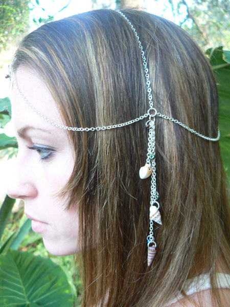 beach mermaid  head chain abalone and seashell head piece  mermaid halo