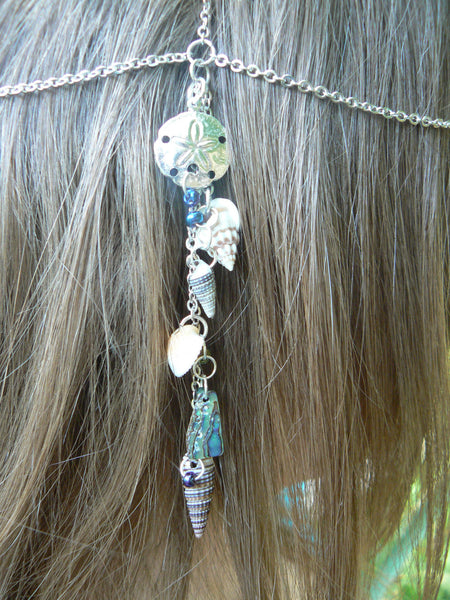 beach sand dollar head chain abalone and seashells mermaid  head piece