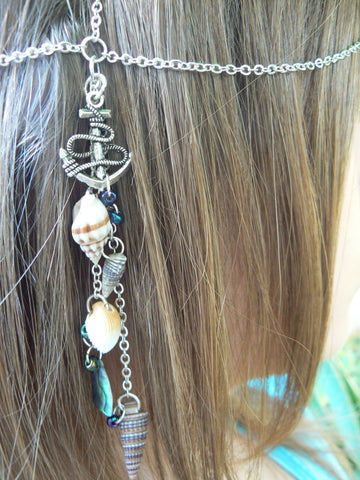beach anchor head chain with abalone and seashells mermaid head piece