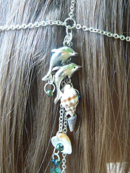beach dolphin head chain abalone and seashells  mermaid  head piece