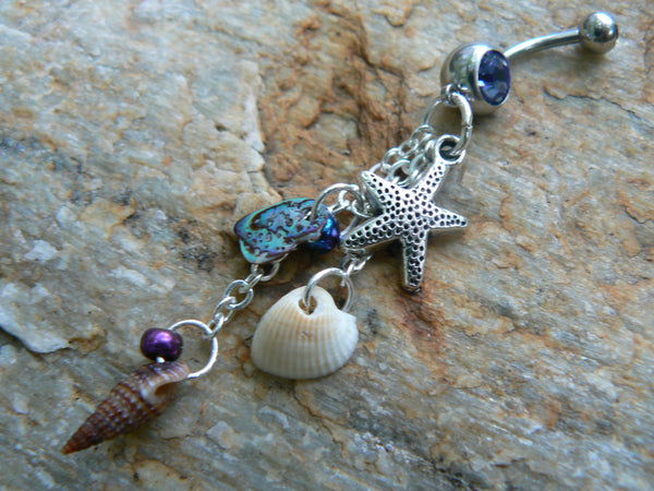 starfish belly ring  abalone seashells starfish  charm in beach boho gypsy hippie belly dancer  beach hipster and fantasy style