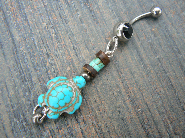 sea turtle belly ring turtle turquoise magnesite sea turtle in tribal boho gypsy hippie belly dancer beach and hipster style