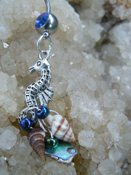 seahorse belly ring  abalone seashells seahorse charm in beach boho gypsy hippie belly dancer  beach hipster and fantasy style