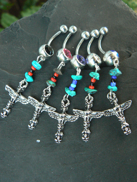 totem belly ring tribal inspired ONE