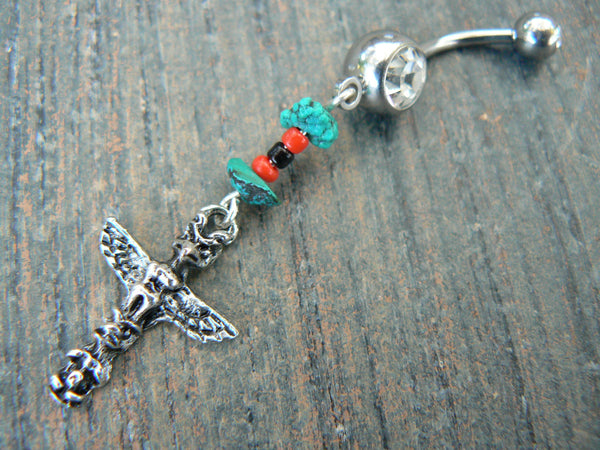 tribal totem belly ring totem pole CLEAR stone in tribal native american inspired boho gypsy hippie belly dancer beach and hipster style