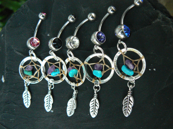 dreamcatcher belly ring turquoise one feather ONE