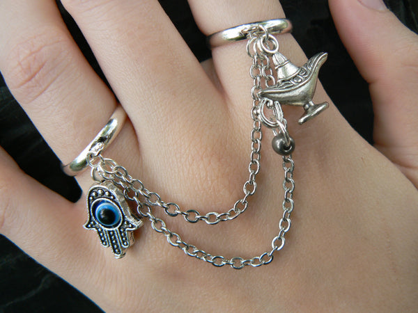 hamsa hand double ring hamsa hand genie lamp charm slave ring in fantasy hipster boho gypsy hippie and belly dancer style