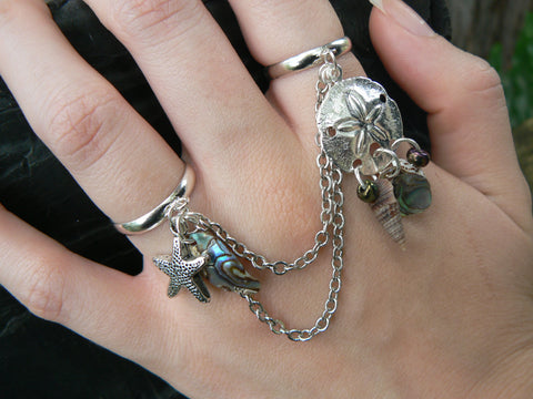 double ring sand dollar starfish double ring slave ring
