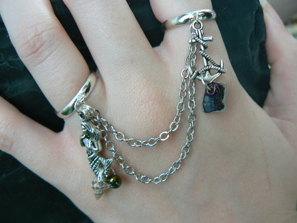 mermaid double chained ring slave ring mermaid anchor shells abalone in beach summer hipster boho gypsy hippie and pirate  style