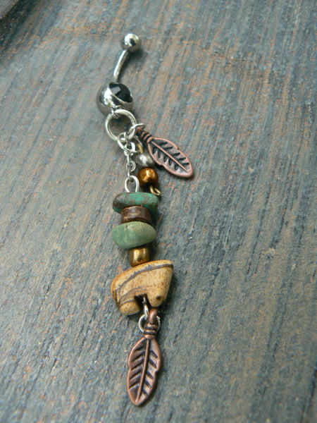 jasper zuni bear belly ring gemstone zuni bear BROWN jasper in tribal native american inspired boho gypsy belly dancer  and hipster style