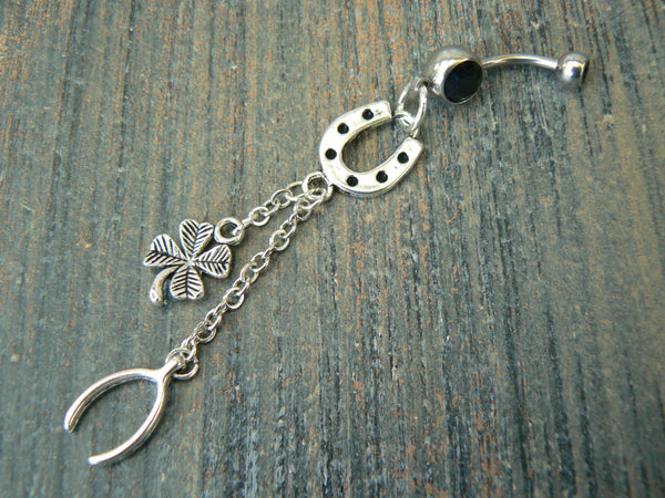 lucky belly ring horseshoe wishbone and four leaf clover in fantasy boho gypsy hippie and hipster style