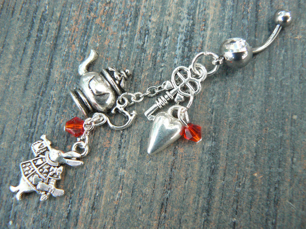 Alice in wonderland inspired belly ring