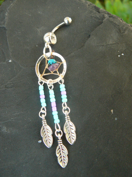 turquoise and purple dreamcatcher belly ring turquoise and amethyst in  tribal boho hippie belly dancer and hipster style