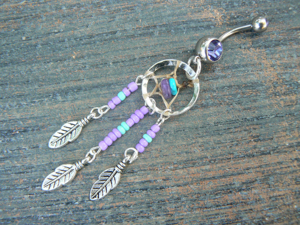 purple and turquoise dreamcatcher belly ring turquoise and amethyst in tribal boho hippie belly dancer and hipster style