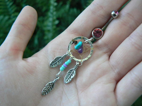dreamcatcher belly ring turquoise center beaded turquoise and purple