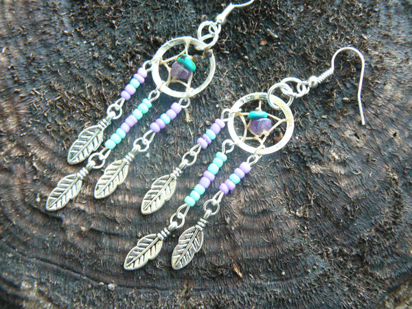 turquoise and amethyst dreamcatcher earrings in native american inspired  tribal boho belly dancer and hipster style