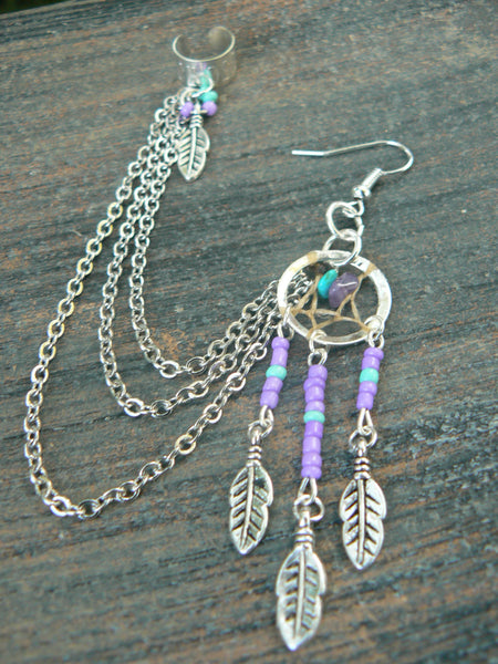 ONE purple dreamcatcher chained ear cuff, turquoise and amethyst