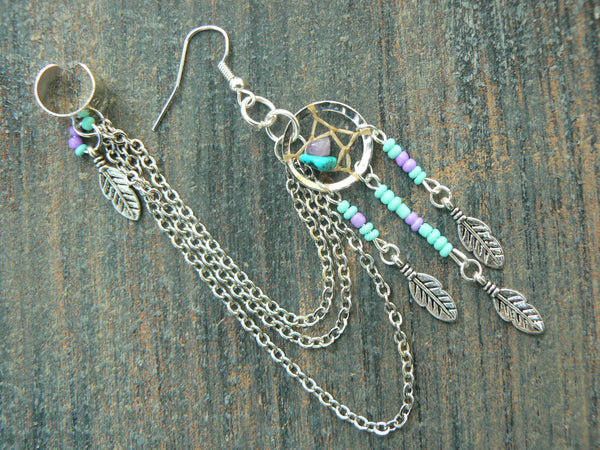 ONE turquoise dreamcatcher chained ear cuff turquoise and amethyst cross cuff in boho gypsy hippie hipster  and tribal style