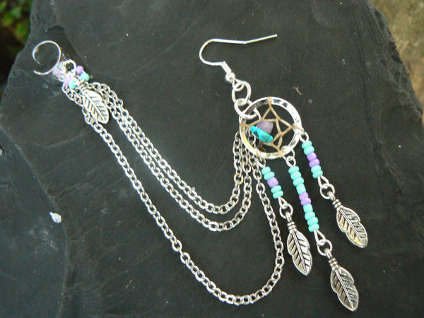 ONE turquoise dreamcatcher chained ear cuff turquoise and amethyst  cuff in boho gypsy hippie hipster  and tribal style