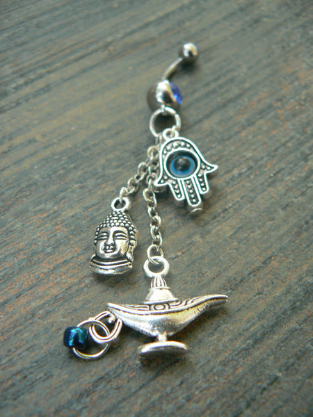 buddah hamsa genie belly ring  protection belly ring