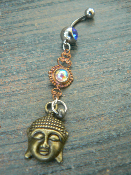 Amethyst buddha belly ring