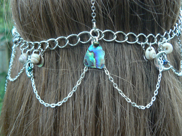 mermaid abalone head chain moon goddess triple moon head chain