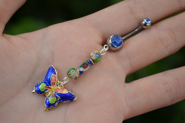 cloisonne butterfly belly ring DARK BLUE cloisonne beads