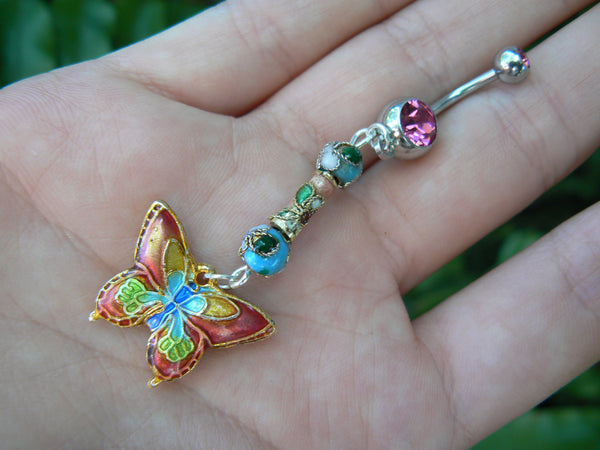 cloisonne butterfly belly ring CORAL PINK cloisonne beads