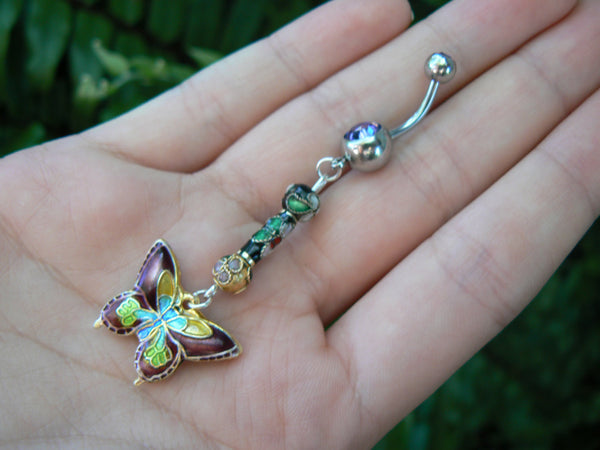cloisonne butterfly belly ring PURPLE cloisonne beads