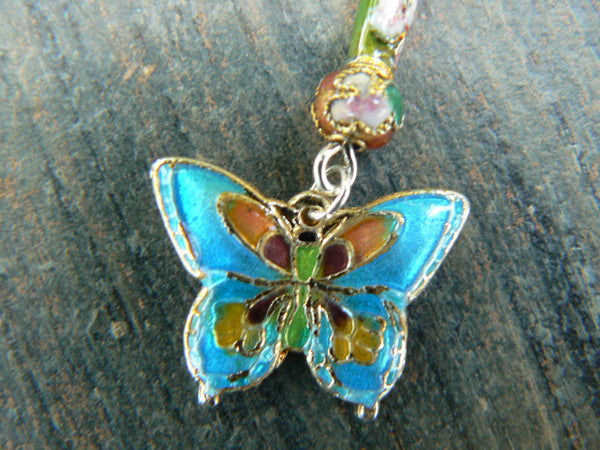 cloisonne butterfly belly ring TURQUOISE BLUE cloisonne