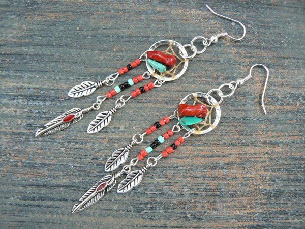 red coral and turquoise dreamcatcher earrings turquoise RED in native american  inspired tribal boho hippie belly dancer and hipster style