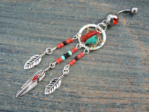 red coral and turquoise dreamcatcher belly ring turquoise and RED in  tribal boho hippie belly dancer and hipster style