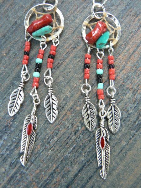 turquoise and coral dreamcatcher earrings turquoise RED in native american inspired  tribal boho hippie belly dancer and hipster style