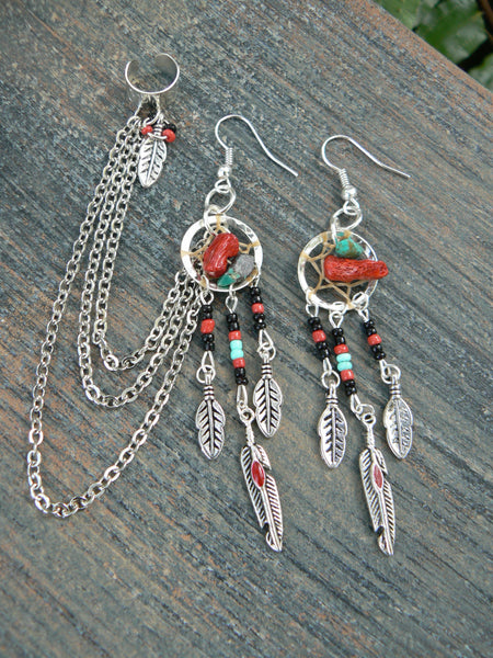 coral and turquoise dreamcatcher  ear cuff  chained SET