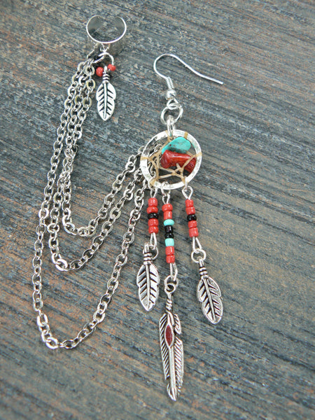 ONE coral and turquoise dreamcatcher chained ear cuff  RED beads cross cuff in boho gypsy hippie hipster  and tribal style