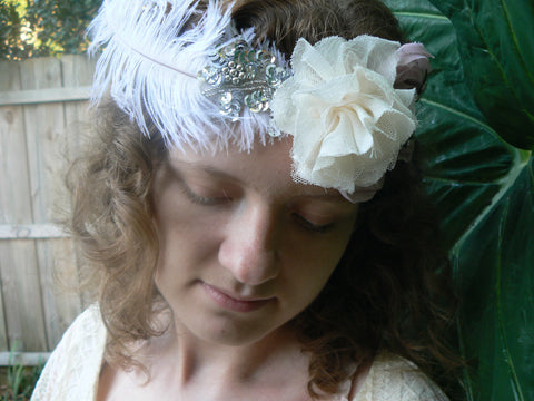 Boho bridal headband flapper headband Butterfly and feather headband
