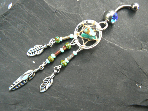 turquoise dreamcatcher belly ring turquoise in  tribal boho hippie belly dancer and hipster style