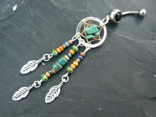 turquoise dreamcatcher belly ring turquoise heishi czech in  tribal boho hippie belly dancer and hipster style