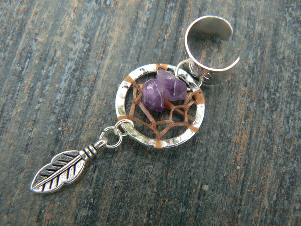 dreamcatcher ear cuff amethyst