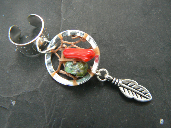 dreamcatcher ear cuff red coral and turquoise tribal cuff