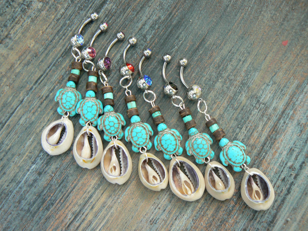 sea turtle cowrie belly ring  PICK ONE turquoise magnesite cowrie shell  in tribal boho gypsy hippie belly dancer beach and hipster style