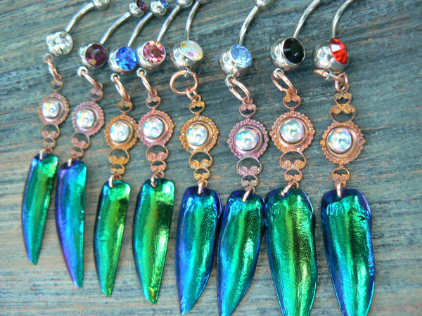 jewel beetle wing belly ring CHOOSE1  amethyst in beach summer moroccan belly dancer indie gypsy boho and hipster style