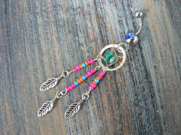 dreamcatcher belly ring turquoise pink orange blue beads  tribal boho hippie belly dancer