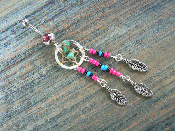 Pink dreamcatcher belly ring turquoise pink black blue beads in  tribal boho hippie belly dancer and hipster style