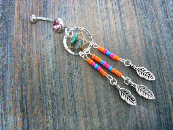 Orange dreamcatcher belly ring turquoise pink orange blue beads in tribal boho hippie belly dancer and hipster style